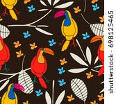 stylized exotic birds seamless...   Shutterstock .eps vector #698125465