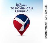 flag of dominican republic in... | Shutterstock .eps vector #698125831