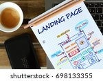 Small photo of Website landing page development – sketch on math book