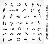 hand drawn arrows  vector set | Shutterstock .eps vector #698135551