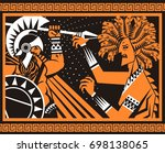 perseus greek mythology hero... | Shutterstock .eps vector #698138065