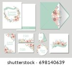 set of colorful flowers... | Shutterstock .eps vector #698140639