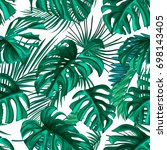 tropical palm leaves  jungle... | Shutterstock .eps vector #698143405