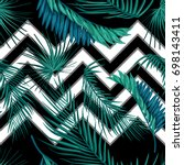 tropical palm leaves  jungle... | Shutterstock .eps vector #698143411