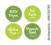 set of four vegetarian labels... | Shutterstock .eps vector #698150785