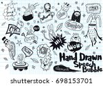 set of funny characters and... | Shutterstock .eps vector #698153701