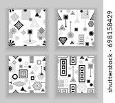 set  abstract seamless pattern... | Shutterstock .eps vector #698158429