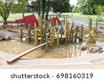 Small photo of Children's playground in an empty park game. children's attraction for the development of dexterity and coordination