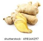 fresh ginger slide on white...   Shutterstock . vector #698164297