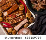 pork rib barbecued with a spicy ... | Shutterstock . vector #698169799