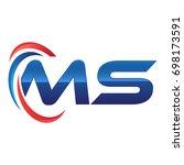 initial letter logo swoosh red... | Shutterstock .eps vector #698173591