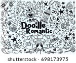 big set of romantic style hand... | Shutterstock .eps vector #698173975