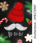 christmas poster with hat ... | Shutterstock .eps vector #698173987