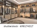 3d rendering minimal loft... | Shutterstock . vector #698174317
