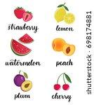 fresh fruits set. strawberry ... | Shutterstock . vector #698174881