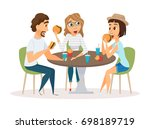 friends eating fast food meal... | Shutterstock . vector #698189719