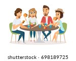 friends eating fast food meal... | Shutterstock . vector #698189725