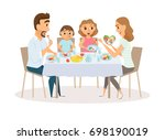 family eating meal around... | Shutterstock . vector #698190019