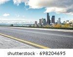 empty asphalt road with... | Shutterstock . vector #698204695