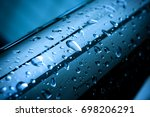 rain drop on stainless pipe... | Shutterstock . vector #698206291