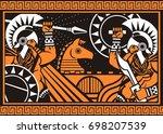orange and black figures... | Shutterstock .eps vector #698207539