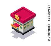 isometric school building icon | Shutterstock .eps vector #698209597