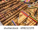 pan flute closeup in the... | Shutterstock . vector #698212195