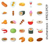 dinner break icons set. cartoon ... | Shutterstock .eps vector #698213929