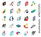 guidance icons set. isometric... | Shutterstock .eps vector #698215201