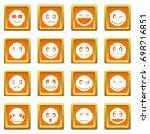emoticon icons set in orange... | Shutterstock .eps vector #698216851