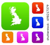 map of great britain set icon... | Shutterstock .eps vector #698217379