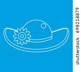 hat with flower icon blue... | Shutterstock .eps vector #698218879