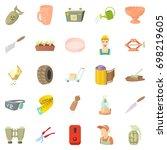 handicraft icons set. cartoon...   Shutterstock .eps vector #698219605
