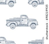 hand drawn engraved retro... | Shutterstock .eps vector #698219935