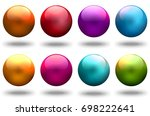 shiny glass balls. brilliant...   Shutterstock . vector #698222641
