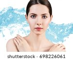sensual woman in wave splashes... | Shutterstock . vector #698226061
