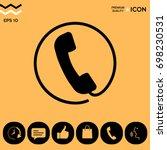 telephone handset surrounded by ... | Shutterstock .eps vector #698230531