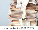 a pack of old office papers for ... | Shutterstock . vector #698239279