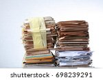 a pack of old office papers for ... | Shutterstock . vector #698239291