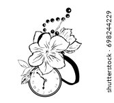 tattoo flower and clock. sketch ... | Shutterstock .eps vector #698244229