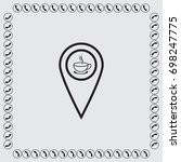 map pointer with cup of tea... | Shutterstock .eps vector #698247775