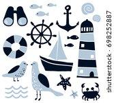 set of nautical design elements ... | Shutterstock .eps vector #698252887