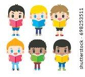 vector set of cute boy... | Shutterstock .eps vector #698253511