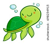 Funny And Cute Green Turtle...