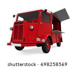 red food truck isolated. 3d...   Shutterstock . vector #698258569