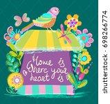 home sweet home illustration ... | Shutterstock .eps vector #698266774