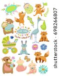 cute baby cartoon collection... | Shutterstock .eps vector #698266807