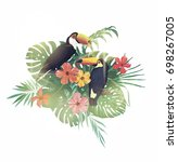 illustration with toucans ... | Shutterstock .eps vector #698267005