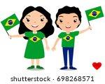 smiling chilldren  boy and girl ... | Shutterstock .eps vector #698268571