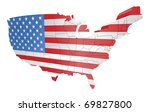 illustration of the american flag as the map of the USA - stock photo